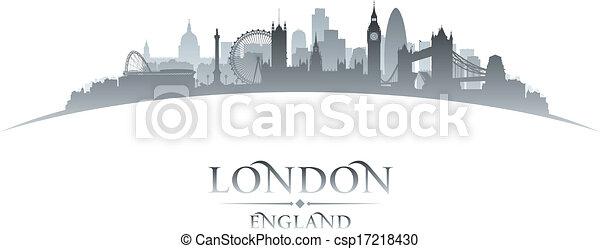 London England City Skyline Silhouette White Background