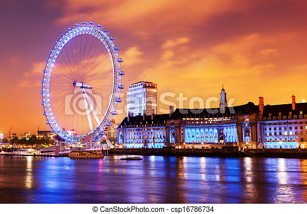 London, England the UK skyline in the evening, London Eye illuminated - csp16786734