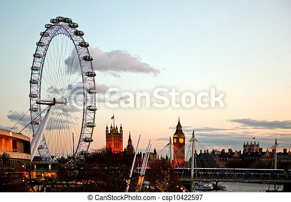 London Eye at Dusk - csp10422597