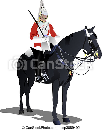 London guard on a horse isolated on white - csp3089492