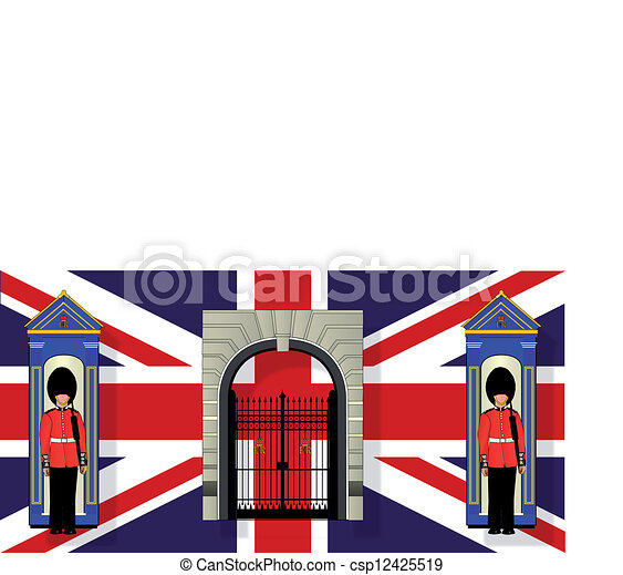 london icons. two coldstream guards on dutytheir sentry