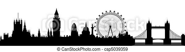 london, láthatár, vektor, - - csp5039359