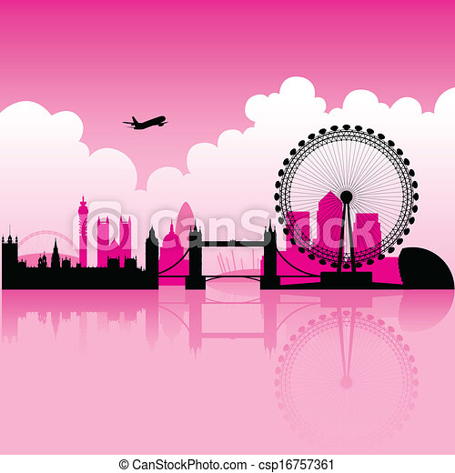 London Magenta Skyline - csp16757361