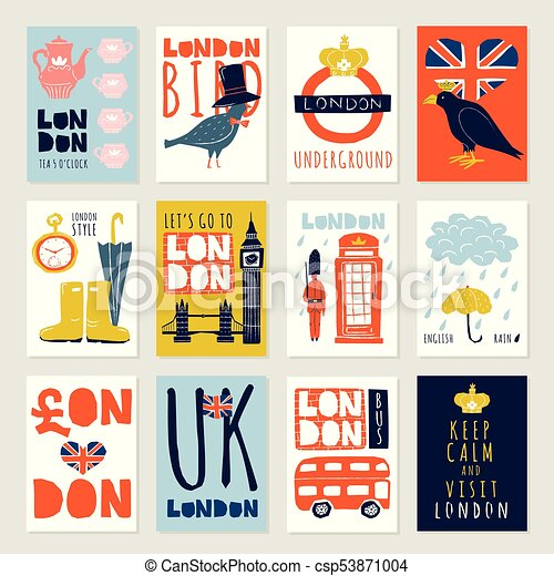 London Posters And Banners Set Set Of Posters And Banners With