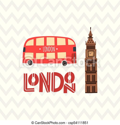 london red bus and big ben on the zig zag pattern clipart vector