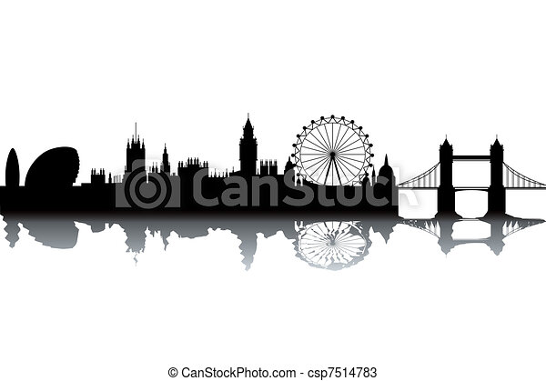 London skyline black and white vector illustration
