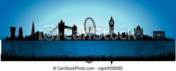 London Skyline Silhouette at night - csp43058385