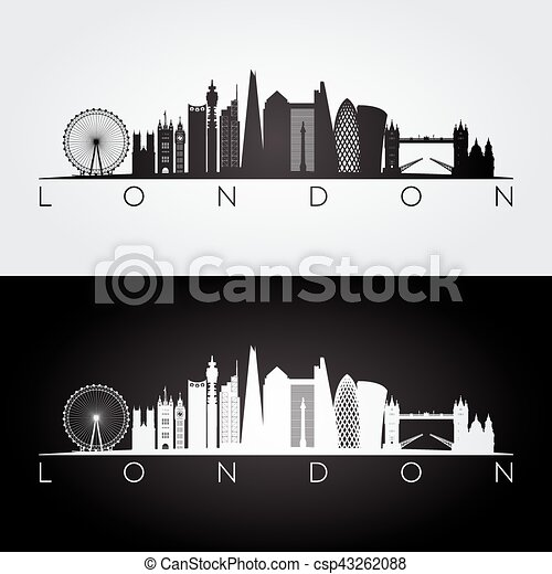London Skyline Silhouette And Landmarks Vector