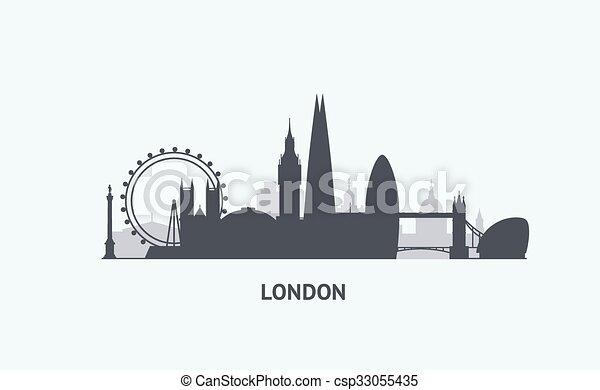 London Skyline Silhouette Vector Graphics Flat City Vectors