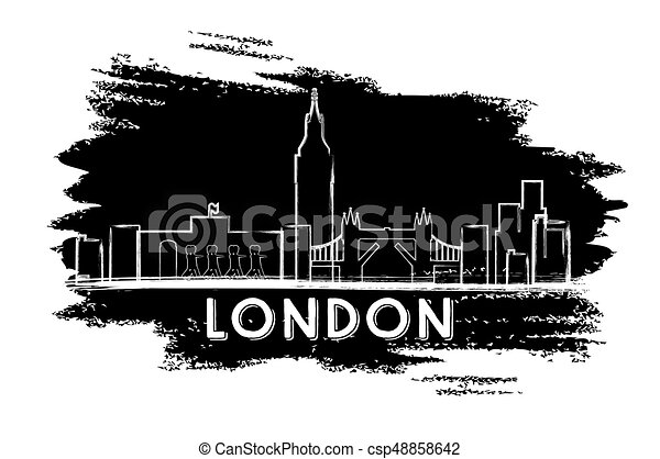 London Skyline Silhouette Hand Drawn Sketch Vector Illustration Business Travel And Tourism Concept With Historic Architecture Image For Presentation