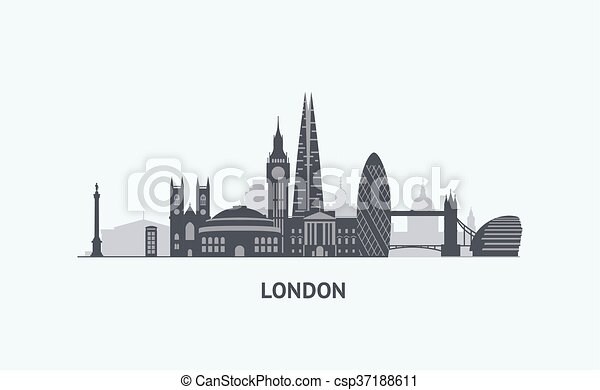 London Skyline Silhouette Vector Graphics Flat City Clip