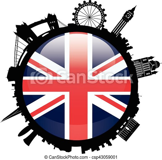 London Skyline Silhouette with britian flag - csp43059001