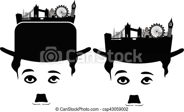 london skyline silhouette with charlie chaplin. london vector