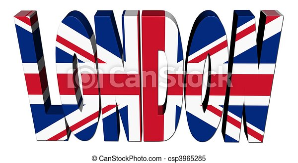 london text with british flag on white illustration stock