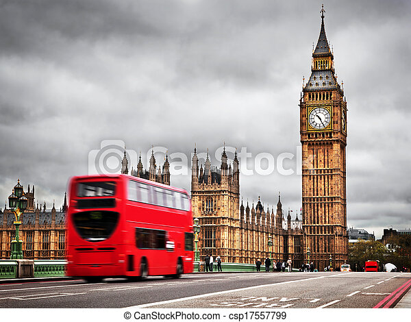 London, the UK. Red bus in motion and Big Ben - csp17557799