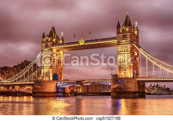 London, the United Kingdom: Tower Bridge on River Thames - csp51527188