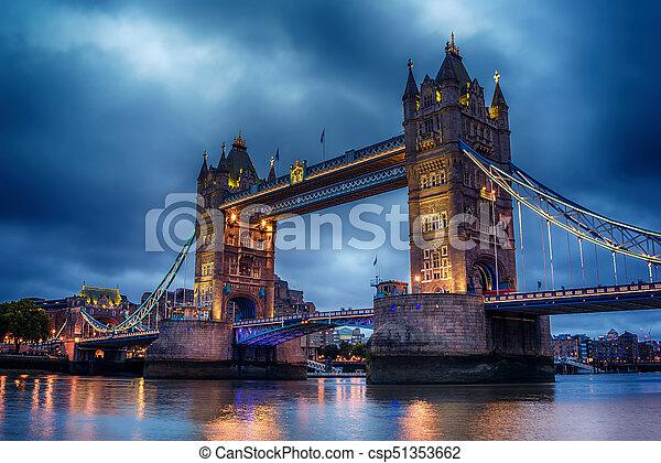 London, the United Kingdom: Tower Bridge on River Thames - csp51353662