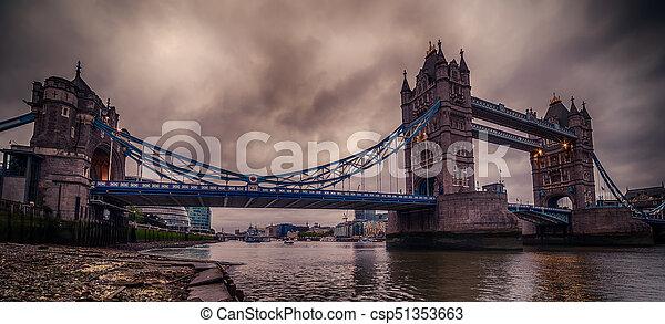 London, the United Kingdom: Tower Bridge on River Thames - csp51353663