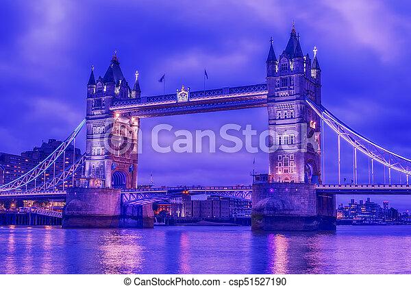 London, the United Kingdom: Tower Bridge on River Thames - csp51527190