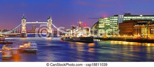 London Tower bridge - panorama - csp18811039