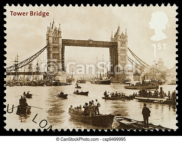 London Tower Bridge Postage Stamp - csp9499995