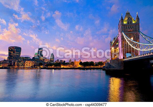 London Tower Bridge sunset on Thames river - csp44309477