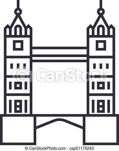 London Tower Bridge Vector Line Icon Sign Illustration On
