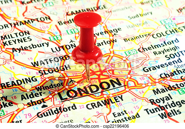 London ,uk map pin. Close up of london ,united kingdom map and red ...