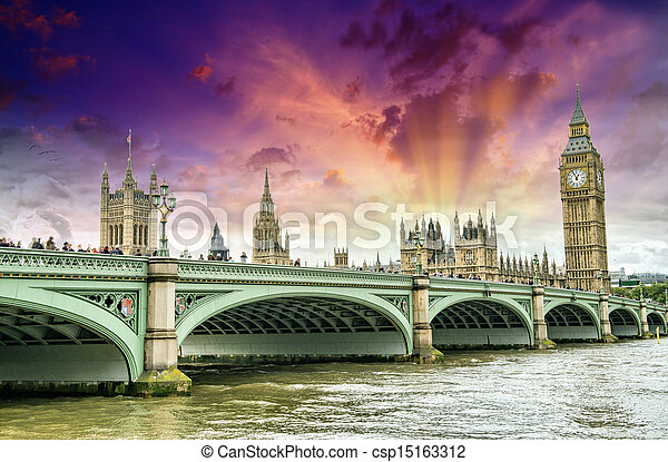 London, UK - Palace of Westminster (Houses of Parliament) with B - csp15163312