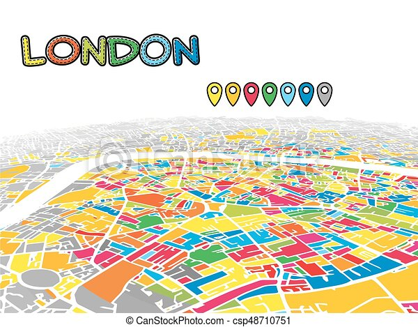 Map Downtown London.London United Kingdom Downtown 3d Vector Map
