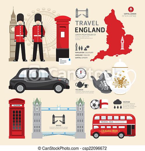 London,United Kingdom Flat Icons Design Travel Concept.Vector - csp22096672