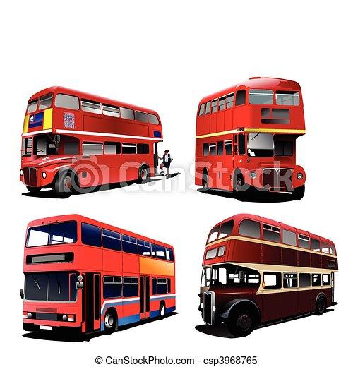 londra, decker, doppio, rosso, bus., vec - csp3968765