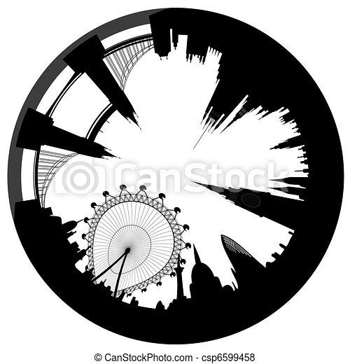 Skyline de Londres - anillo - vector - csp6599458