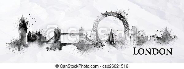 londres, encre, silhouette - csp26021516