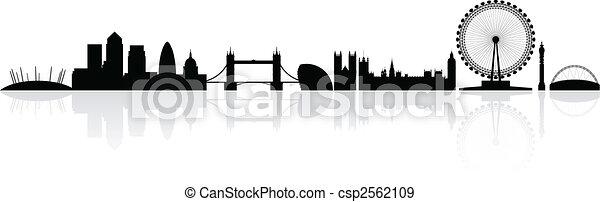 londyn, skyline przedstawią w sylwecie - csp2562109