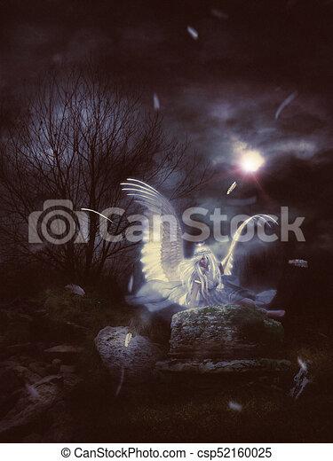 Lone Angel in the Dark - csp52160025