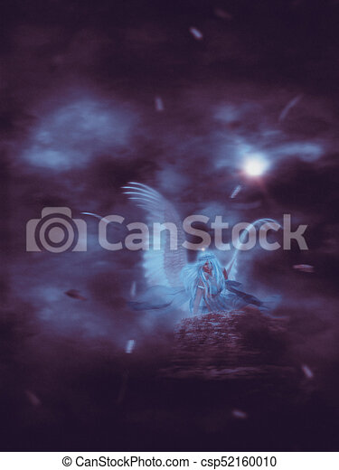 Lone Angel in the Dark - csp52160010