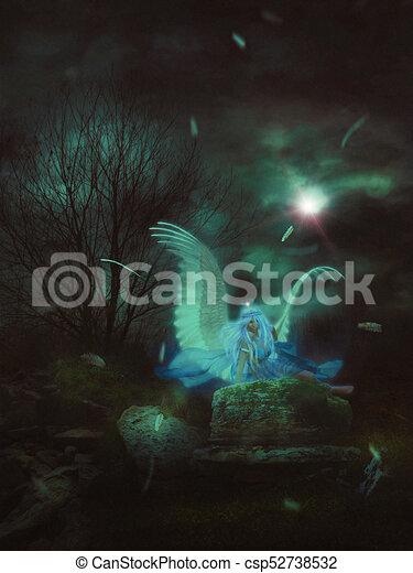 Lone Angel in the Dark - csp52738532