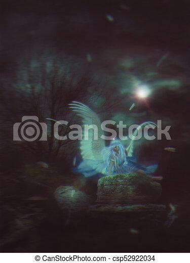 Lone Angel in the Dark - csp52922034