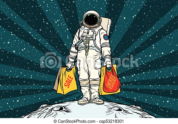Lone Retro Astronaut With A Sale Shopping Bags Pop Art