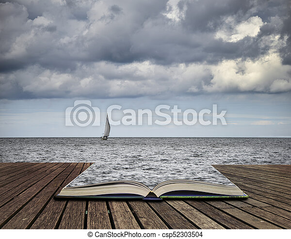 Lone sailing boat at sea with threatening storm clouds overhead concept coming out of pages in book - csp52303504