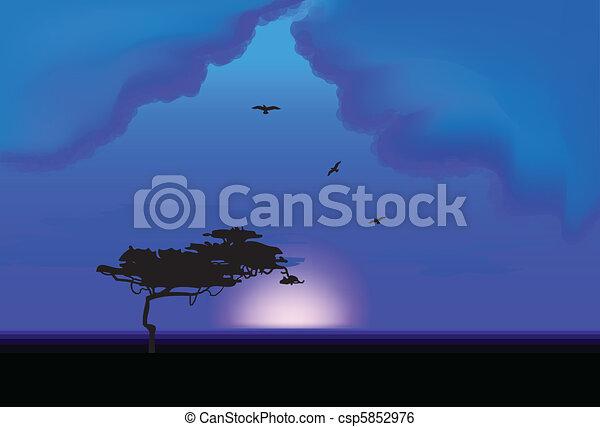 Lone Tree At Night. Vector - csp5852976
