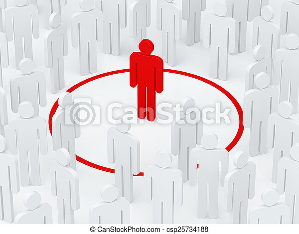 Loneliness man surrounded red circle among crowd (3D render) - csp25734188