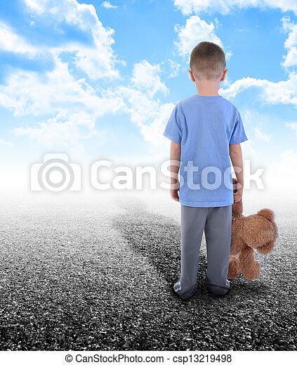 Lonely Boy Standing Alone with Teddy Bear - csp13219498