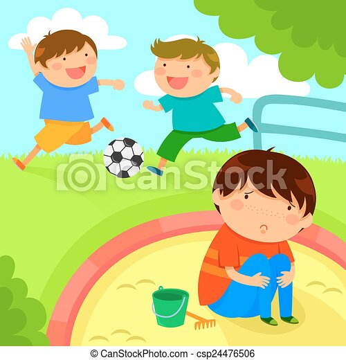 sad lonely boy looking at kids playing together Free Anti-Bullying Art Stop Bullying Clip Art Free