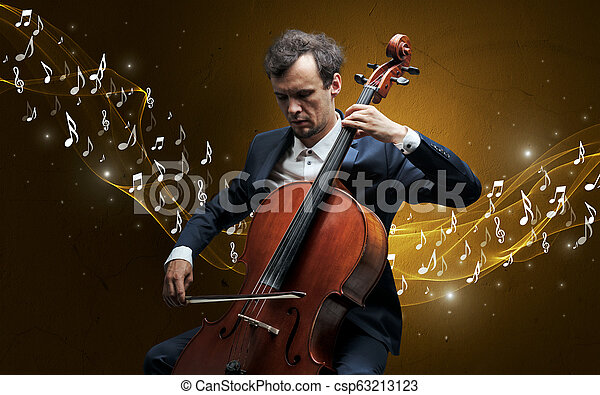 Lonely composer playing on cello - csp63213123