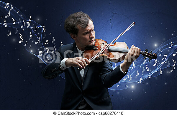 Lonely composer playing on violin - csp68276418