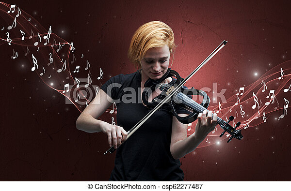 Lonely composer playing on violin - csp62277487