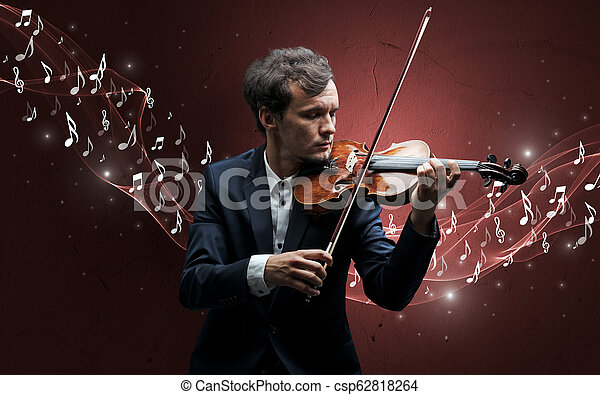 Lonely composer playing on violin - csp62818264