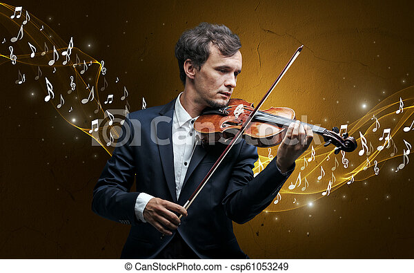 Lonely composer playing on violin - csp61053249